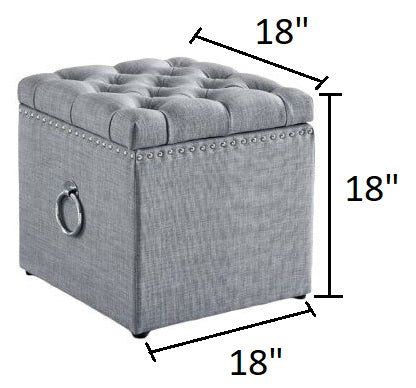 Mcclelland Tufted Storage Ottoman Light Gray And Chrome