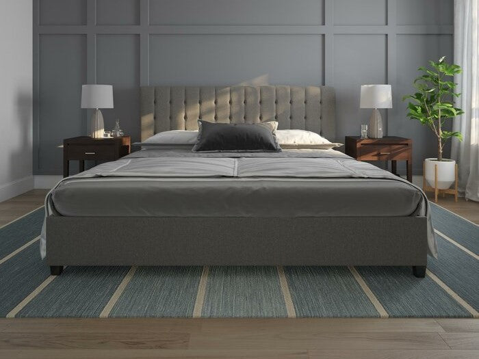 Littrell Upholstered Platform Queen Bed Gray
