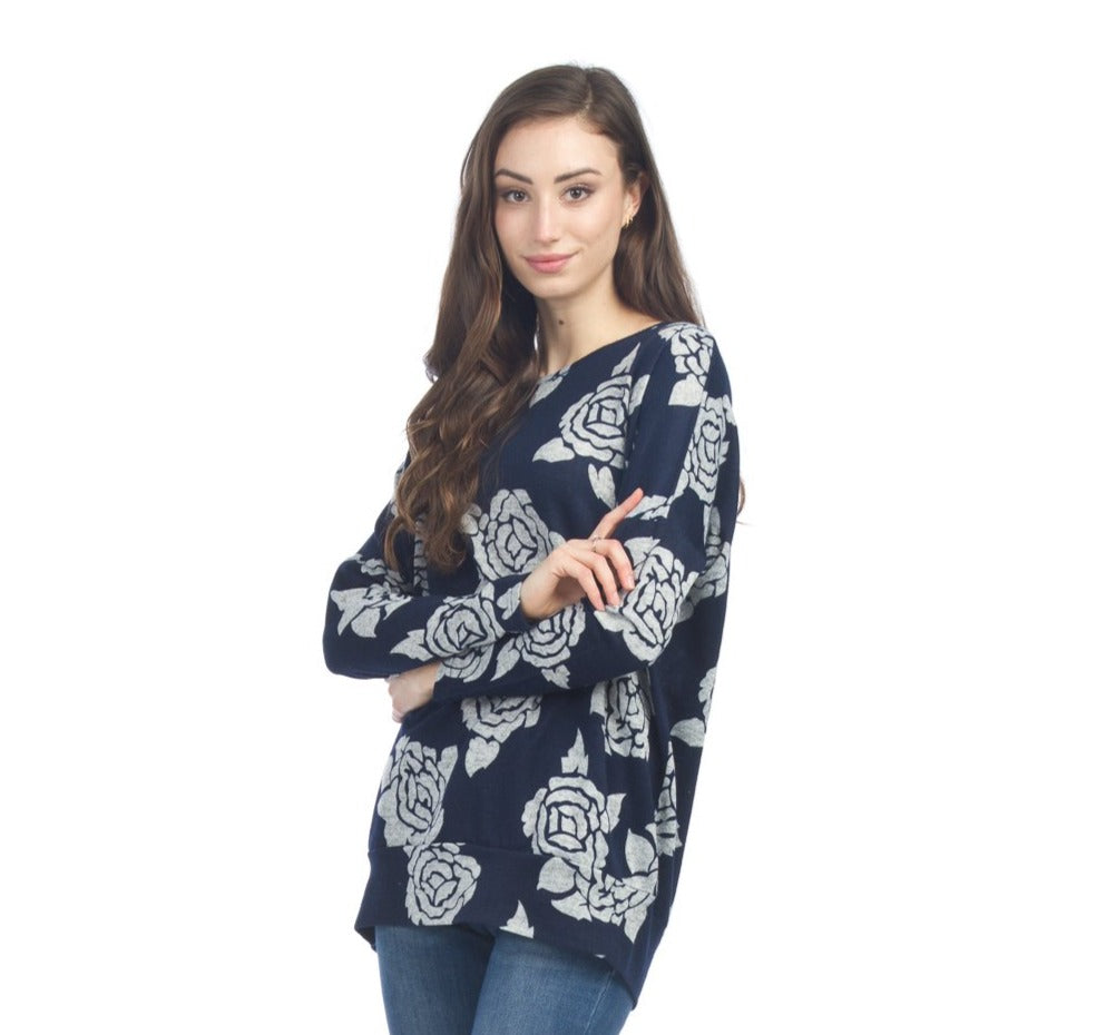 Papillon Black with Grey Flowers Sweater