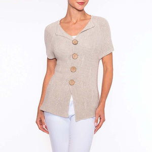 Alison Sheri Button up Short Sleeve Sweater