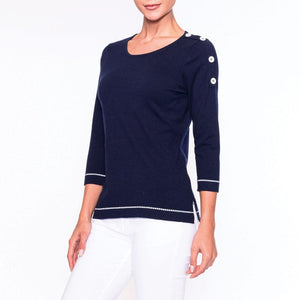 Alison Sheri Navy Pullover with Button Detail