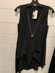 Elena Wang Black Teired Sleeveless Blouse