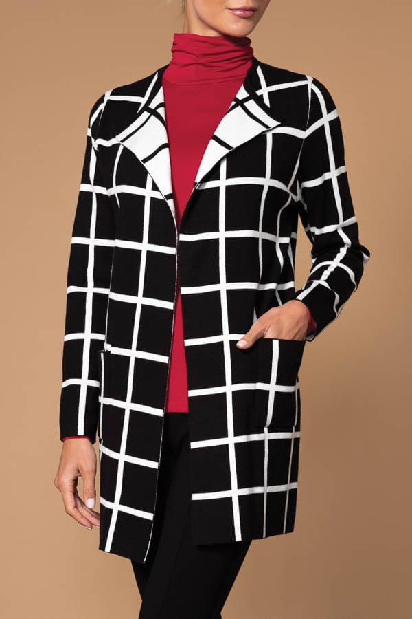 Elena Wang Black & White WindowPane Cardigan