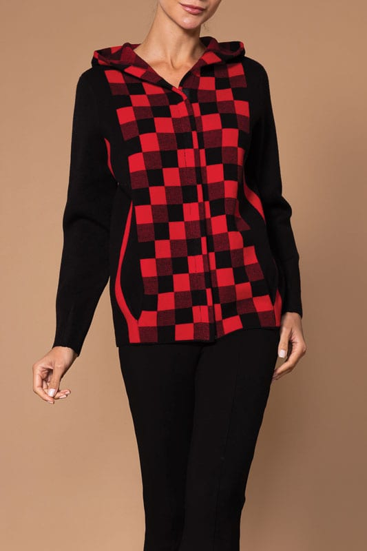 Elena Wang Buffalo Check Knit Jacket