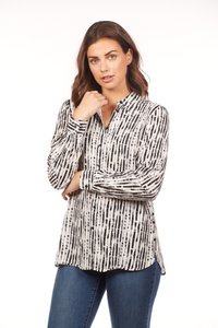 French Dressing Black Stripe Blouse