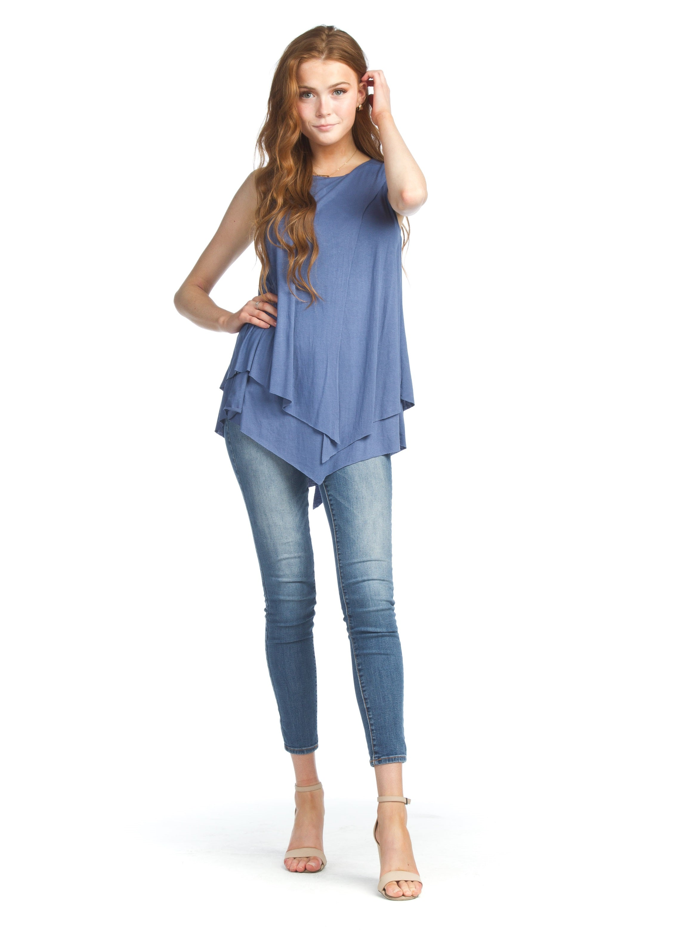 Papillon Denim Sleeveless Layered Blouse