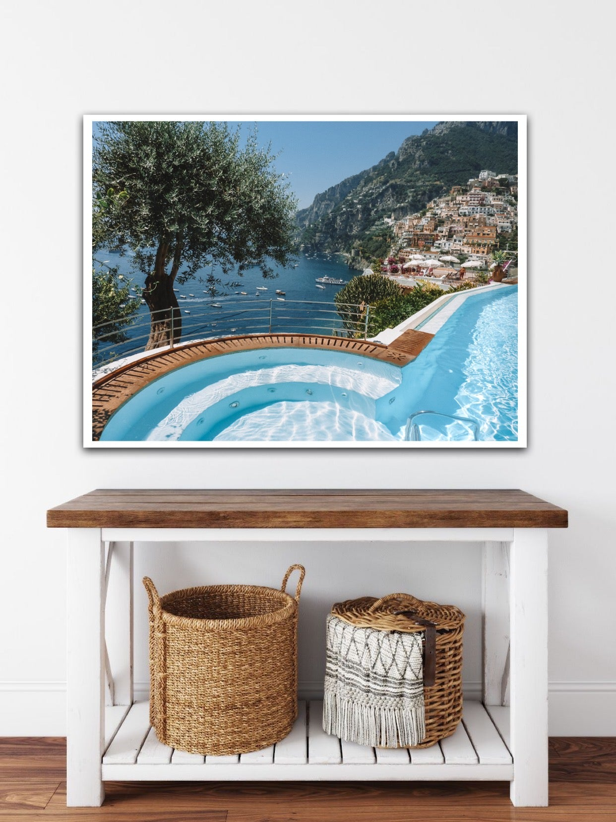 A Euro summer poolside or seaside in Positano and Atrani, Amalfi Coast Italy. Best hotel infinity pool and view in Positano Amalfi Coast