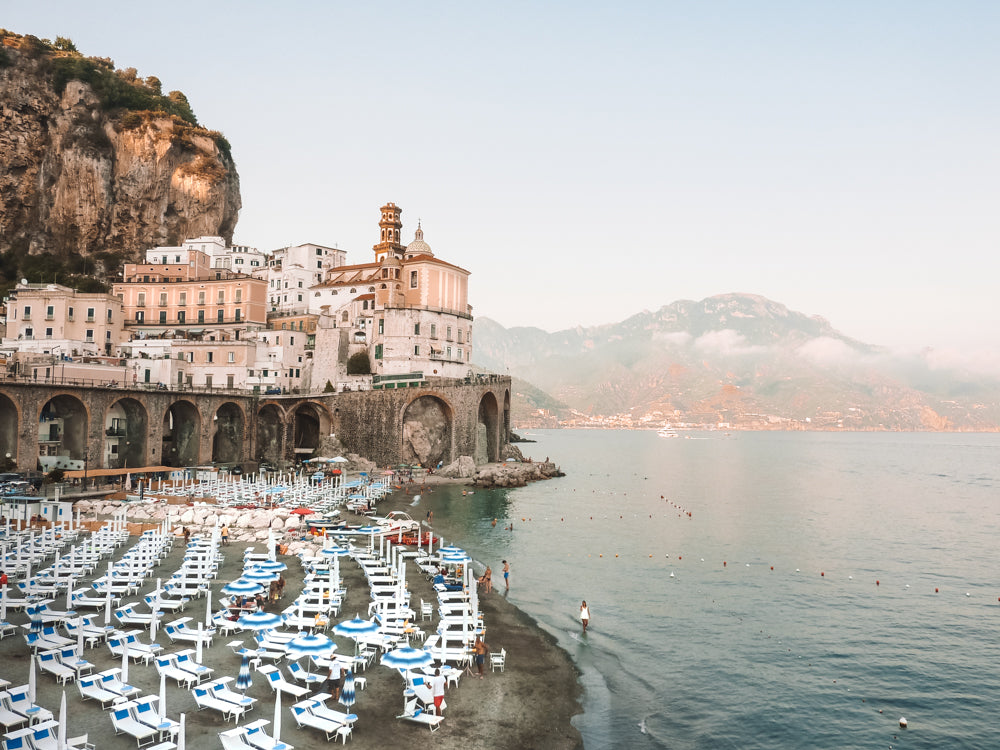 A European Summer in Atrani Amalfi Coast Italy. Late afternoon seaside down at the beach. Featured in Harpers Bazaar US. Fine Art Photographic Print