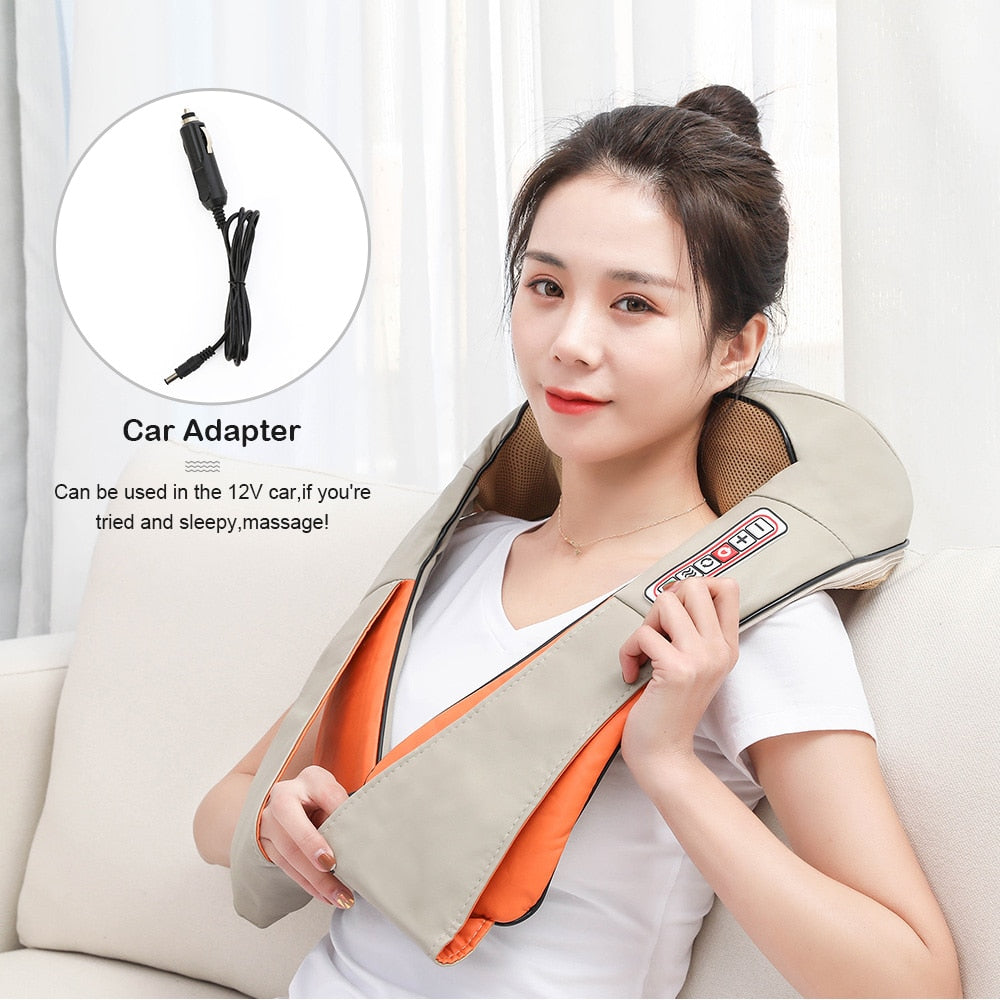 U Shape Electrical Shiatsu Body Shoulder Neck Massager Shawl Back Infrared kneading Massage Multifunctional Home Health Care™