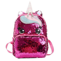 Cartable Licorne Paillette Rouge Fushia