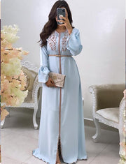 Caftan Robe Bleu Simple