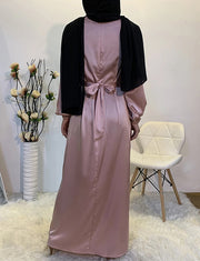 Abaya Satin Hijab Robe Musulmane Vêtements Robes