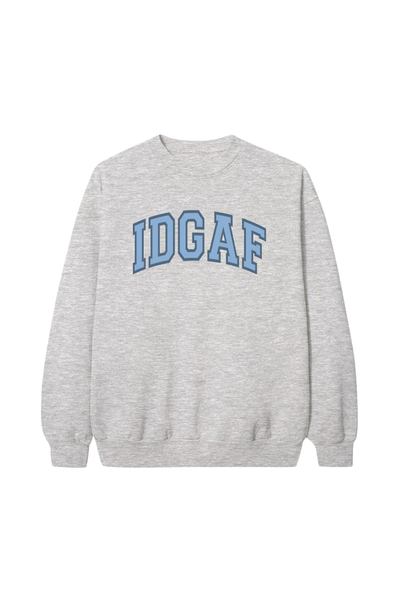 Blue 'IDGAF' Grey Crewneck