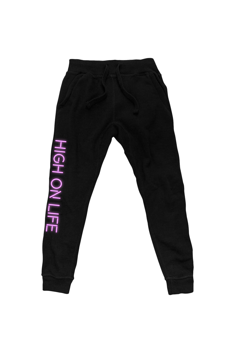 'High on Life' Black Joggers