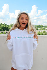 'What's Up' White Hoodie