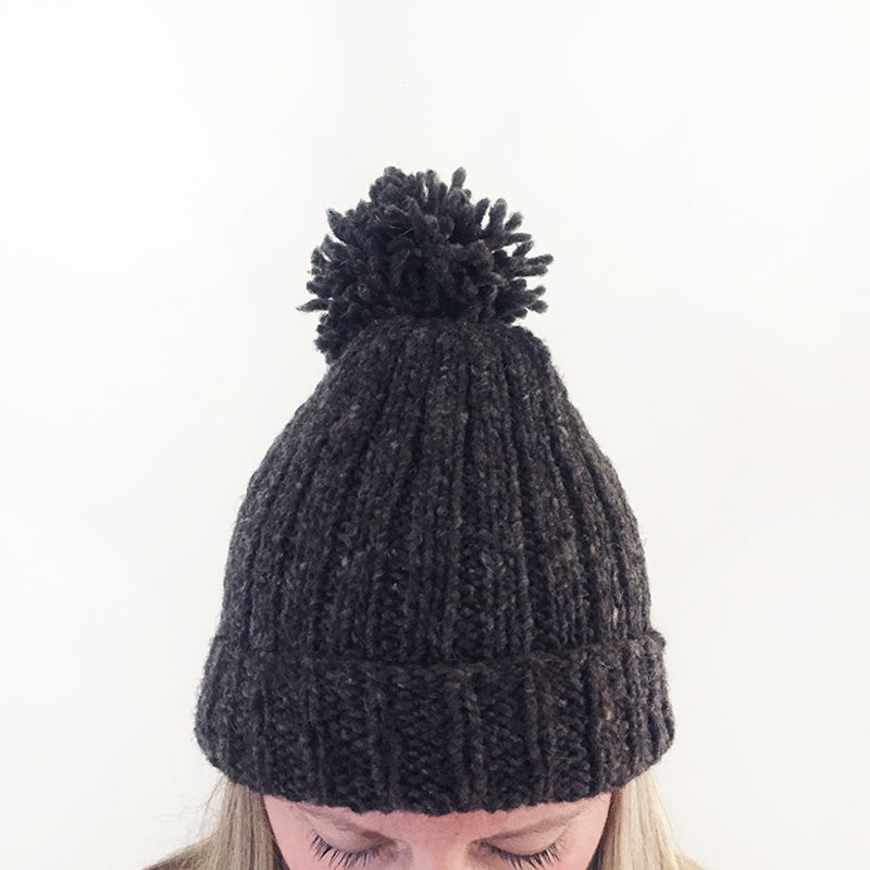 Handspun Merino Wool Hat - Warm Grey