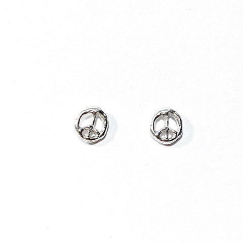 Mini Silver Peace Moon Earrings by Monica Squitieri