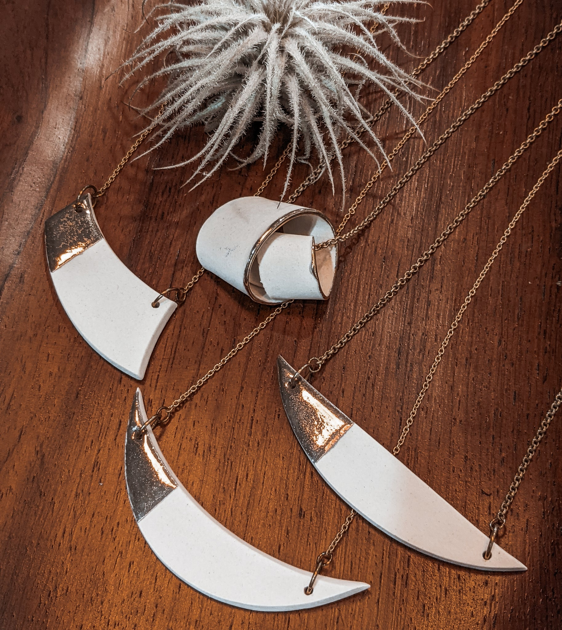 Crescent Moon Handmade Porcelain Necklace with Metallic Lustre Glaze by Mitra Fabian