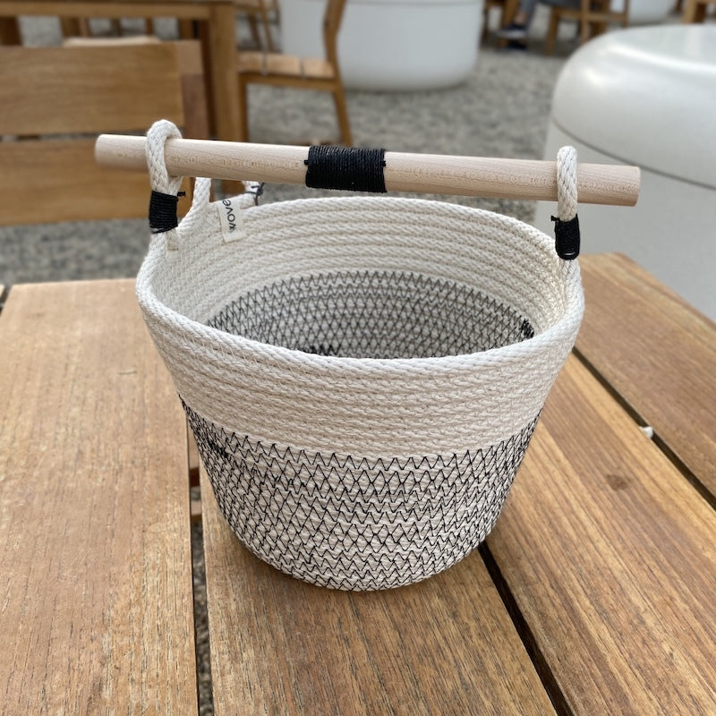 Large Woven Basket With Wooden Handle