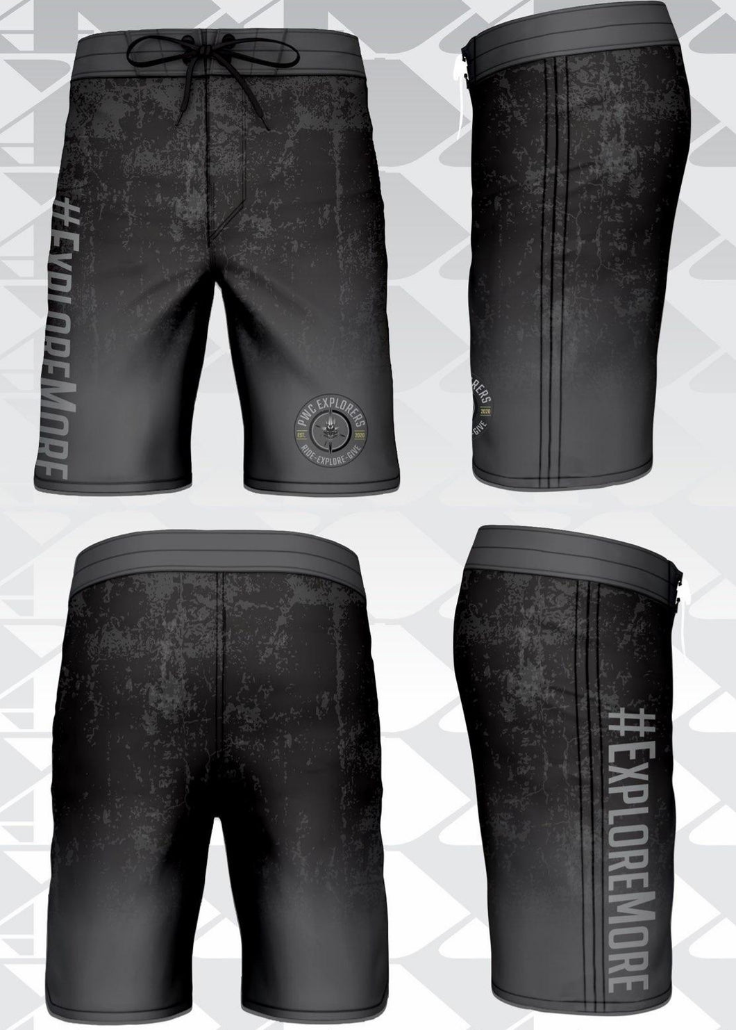 Custom Pwc Explorers Board Shorts-Gunmetal