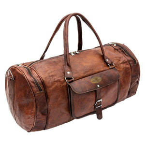 Genuine Leather Full Grain Large Leather Duffle Bag with High Quality Zippers