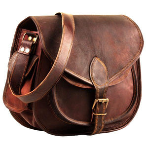 Large Leather Shoulder Satchel Bag with Adjustable Strap