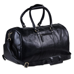 Black Textured Buffalo Leather Weekender Duffle Top Handle Bag