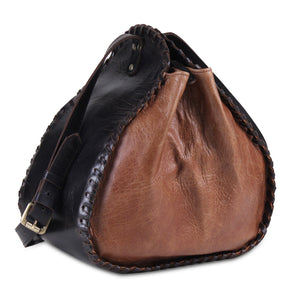 Genuine Leather 2 in 1 Black Brown Bucket Bag with Adjustable Strap