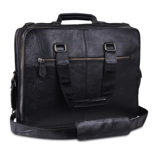 High Quality Genuine Full Grain Black Leather Briefcase Messenger Bag With Top Handle