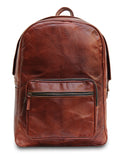 Front View of Full Grain Water Resistant Leather Backpack with Zippers