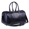 Genuine Buffalo Leather Dark Blue Weekender Travel Gym Duffle Bag with Top Handle