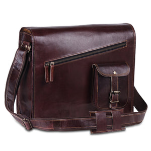 Large Cross Chain Vintage Brown Leather Messenger Satchel Shoulder Bag with Adjustable Strap