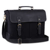 Genuine Canvas Leather Black Messenger Laptop15.6 inch Bag