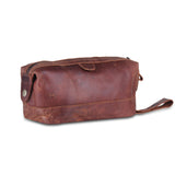 Genuine Full Grain Brown Leather Multi Utility Toiletry Bag