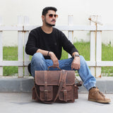Model with Genuine Brown Leather Messenger Bag with Top Handle