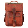 Front View Leather Messenger Backpack