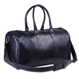 Genuine Leather Dark Blue Weekender Sports Duffle Bag
