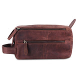 Brown Leather Unisex Toiletry Bag