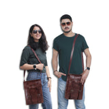 Models with Leather Messenger Tablet Satchel Bag