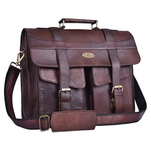 Genuine Full Grain Rustic Leather Top handle Messenger Bag with Adjustable Strap