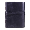 Dark Blue Plain Textured Leather Notebook Journal with Strap