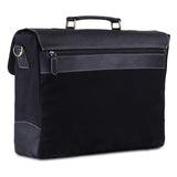 Posterior View of Black Leather Canvas Messenger Bag with Top Handle