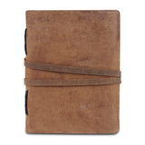 Light Brown Plain Textured Leather Notebook Journal with Strap