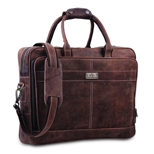 18 inch Genuine Buffalo Full Leather Top Handle Briefcase Bag