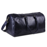Genuine Leather Dark Blue Duffle Bag with Top Handle