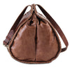 Side View Of Brown Leather Bucket Bag with Adjustable Strap