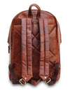 Posterior View of Large Water Resistant Brown Leather Backpack with Padded Straps