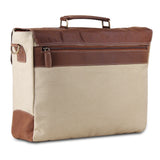 Posterior View of Cream Leather Canvas Messenger Bag with Top Handle