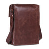 Posterior of Brown Leather Messenger Satchel Tablet Bag