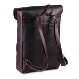 Posterior View of Genuine Full Grain Buffalo Brown Leather Backpack Bag